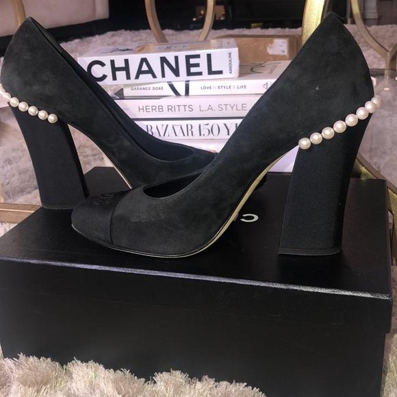 0a9d7d8218 CHANEL Shoes   Black And Suede Pearl Pumps Sz 40 Us 9 95   Poshmark